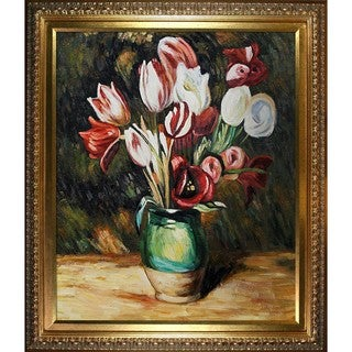 Renior 'Tulips in a Vase' Hand-painted Framed Art Print