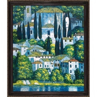 Klimt 'Church in Cassone (Landscape with Cypress)' Hand-painted Framed Canvas Art