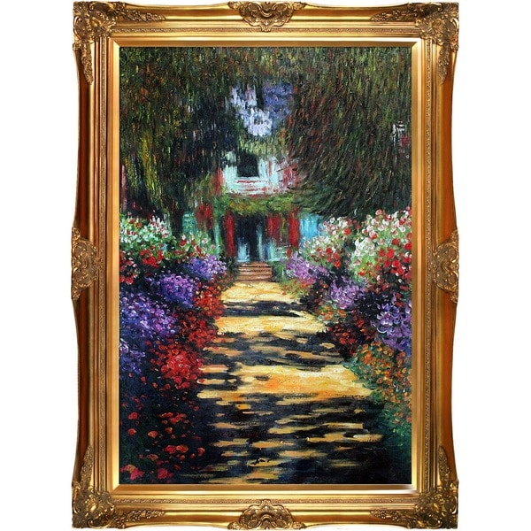 Monet 'Garden Path at Giverny' Hand-painted Framed Canvas Art