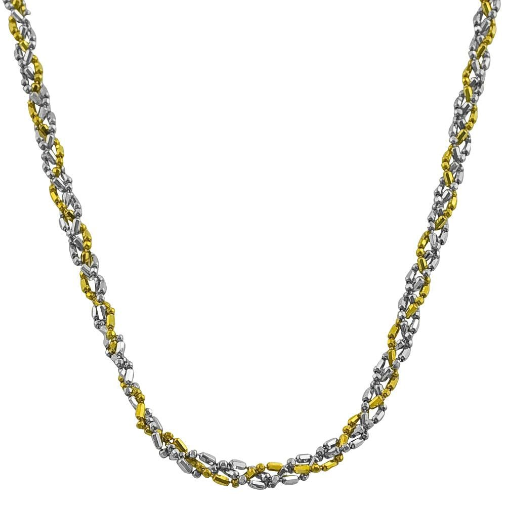 Fremada 14k Two-tone Gold 17-inch Twisted Alternating Ball and Bar Necklace