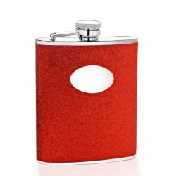 Red Glitter Engravable Oval Badge 6-oz Stainless Steel Flask