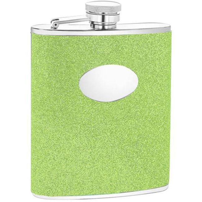 Green Glitter Engravable Oval Badge 6-oz Stainless Steel Flask