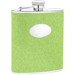 Green Glitter Engravable Oval Badge 6-oz Stainless Steel Flask