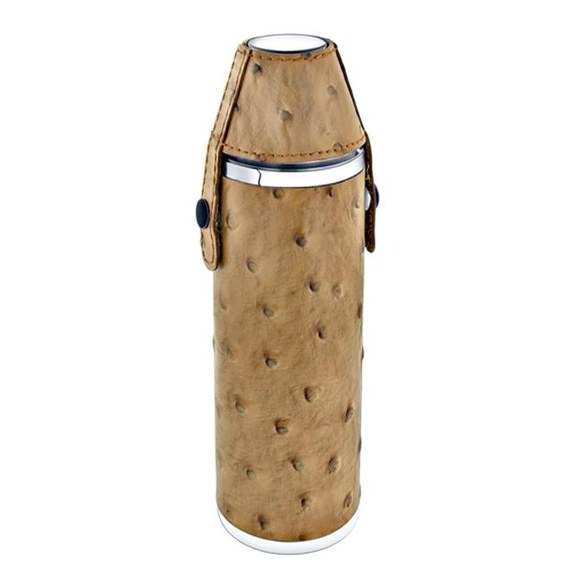 Leather 10-ounce Tube Flask with Two Shot Cups