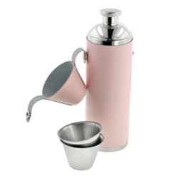 Pink Leather 10-ounce Stainless-steel Tube Flask with Two Shot Cups