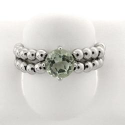 Dolce Giavonna Sterling Silver Green Amethyst Beaded Stretch Ring