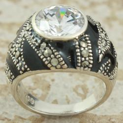 Sterling Silver Marcasite and Black Enamel Dome Ring (Thailand)