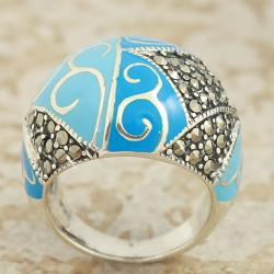 Sterling Silver Marcasite Blue and Enamel Dome Ring (Thailand)