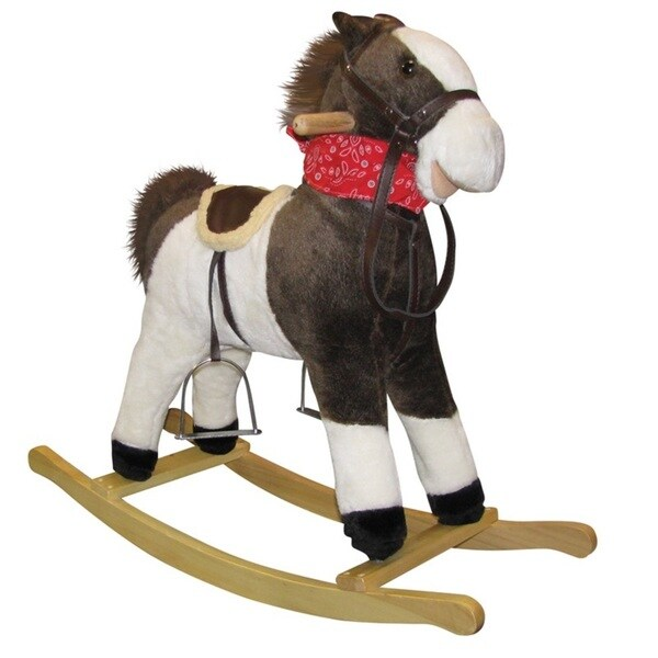 Charm Co Pinto Horse Rocker with Moving Mouth and Tail