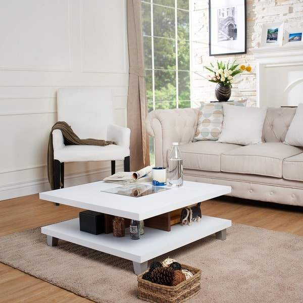 Bn Design High Gloss White And Walnut Coffee Table With 2: Furniture Of America Helena White And Walnut 2-Leveled