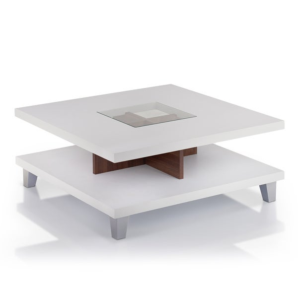 Furniture of America Helena White and Walnut 2-Leveled Coffee Table