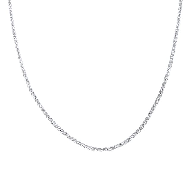 Sterling Essentials Rhodium Plated Silver 20-inch Wheat Chain