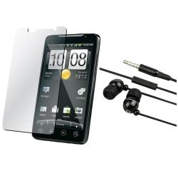 Black 3.5 mm In-ear Headset with Screen Protector for HTC EVO 4G