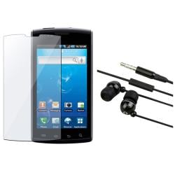 Black 3.5 mm Headset and Screen Protector for Samsung Captivate i897