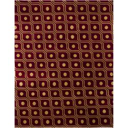 Hand-Knotted Gold/Burgunday Mandara New Zealand Wool Rug (8' x 10')