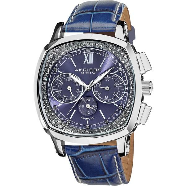 Akribos XXIV Men's Multifunction Diamond Swiss Quartz Square Strap Watch