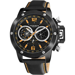 Akribos XXIV Men's Black Multifunction Stainless Steel Swiss Quartz Strap Watch with Orange Dial Markings