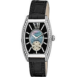 Akribos XXIV Women's Diamond Swiss Quartz Tonneau Black Leather Strap Watch