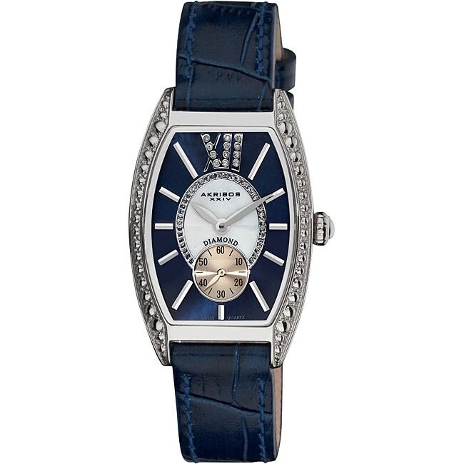 Akribos XXIV Women's Diamond Swiss Quartz Tonneau Blue Strap Watch
