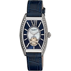 Akribos XXIV Women's Diamond Swiss Quartz Tonneau Blue Strap Watch