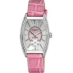 Akribos XXIV Women's Diamond Swiss Quartz Tonneau Pink Strap Watch