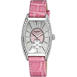 Akribos XXIV Women's Diamond Swiss Quartz Tonneau Pink Strap Watch