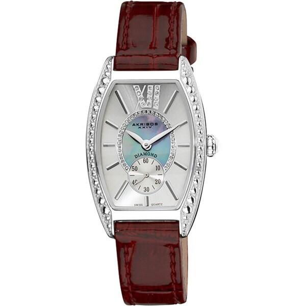 Akribos XXIV Women's Diamond Swiss Quartz Tonneau Purple Strap Watch