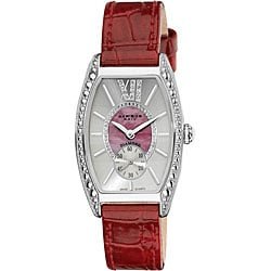 Akribos XXIV Women's Diamond Swiss Quartz Tonneau Red Strap Watch