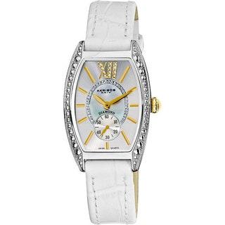 Akribos XXIV Women's Diamond Swiss Quartz Tonneau White Strap Watch