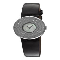 Azzaro Women's 'Sparkling' Black Leather Strap Watch