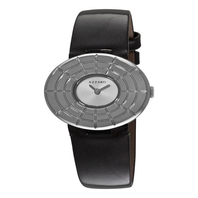 Azzaro Women's 'Sparkling' Silver-Dial Black-Strap Watch
