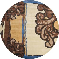 Hand-tufted Mandara Abstract Wool Rug (7'9 Round)