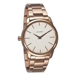 Azzaro Men's 'Legend' Rose PVD White Dial Watch