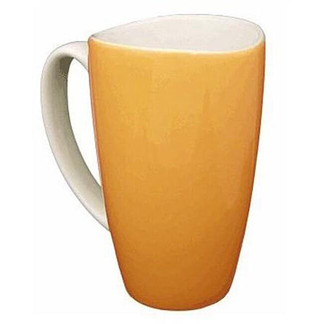 Wavy Rim Ceramic 17.5-oz Orange Mugs (Pack of 4)