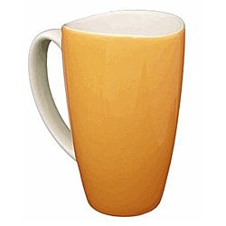 Wavy Rim Ceramic 17.5-oz Orange Mugs (Pack of 4)