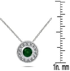 10k White Gold and Silver Emerald and 1/6ct TDW Diamond Necklace (I-J, I1-I2)