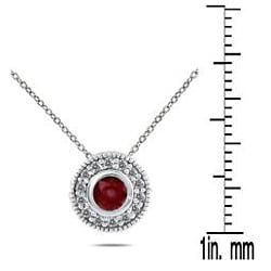 Marquee Jewels 10k White Gold Ruby and 1/6ct TDW Diamond Necklace (I-J, I1-I2)