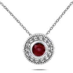 10k White Gold Ruby and 1/6ct TDW Diamond Necklace (I-J, I1-I2)