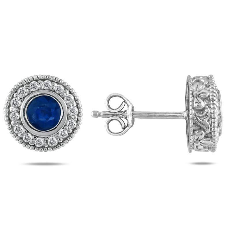Marquee Jewels 10k White Gold Sapphire and 1/3ct TDW Diamond Earrings (I-J, I1-I2)