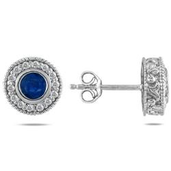 10k White Gold Sapphire and 1/3ct TDW Diamond Earrings (I-J, I1-I2)