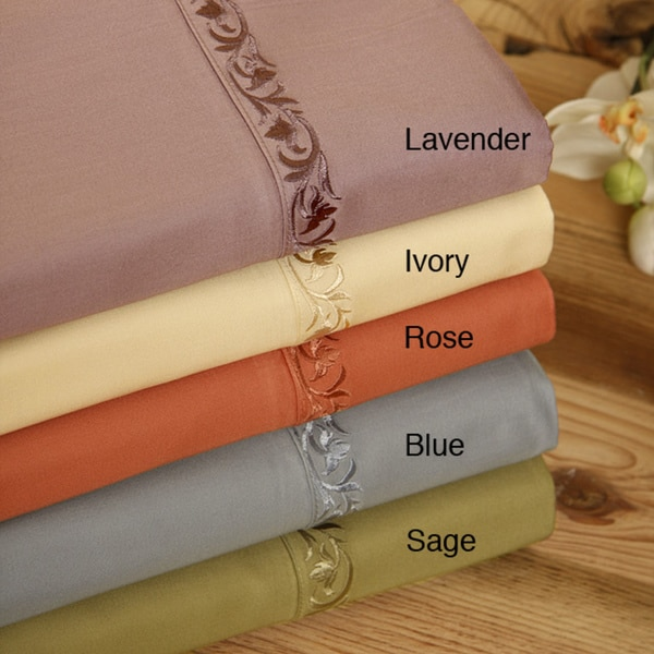 Sateen 350 Thread Count Embroidered Hem 6-piece Sheet Set