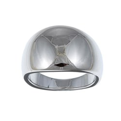 Sterling Essentials Rhodium Plated Silver Dome Ring