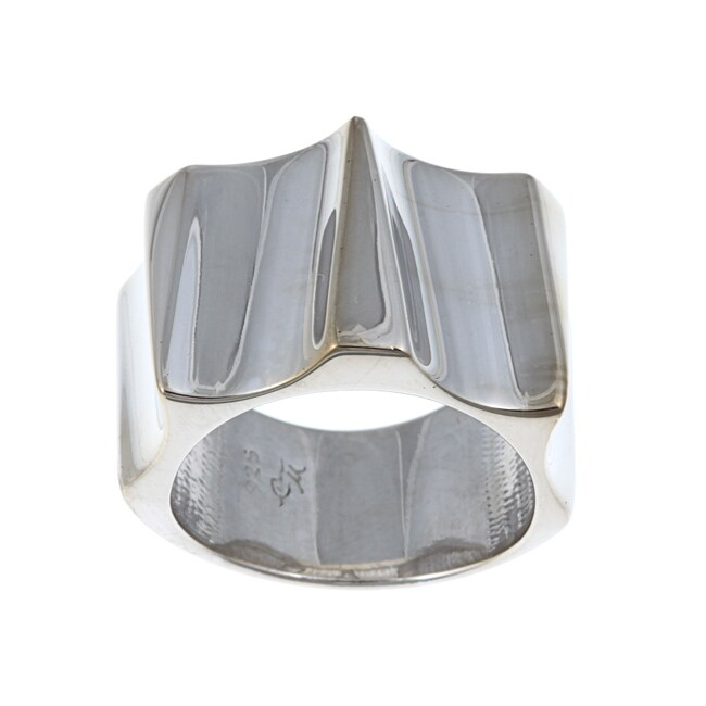 Sterling Essentials Rhodium Plated Silver Runway Ring