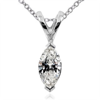 Annello 14k White Gold 1/4ct TDW Marquise Diamond Solitaire Necklace (H-I, I1-I2)