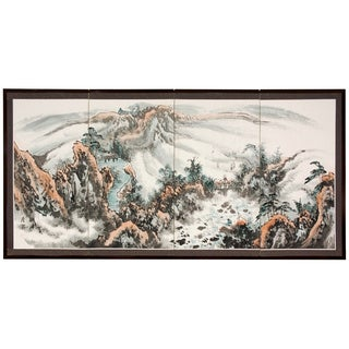 Silk 'Mountaintop Landscape' Screen (China)