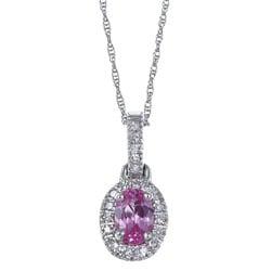 Sofia 10k Gold Created Pink Sapphire and 1/10ct TDW Diamond Necklace (H-I, I1-I2)