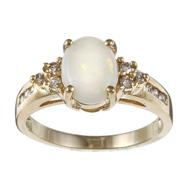 Sofia 10k Yellow Gold Opal and 1/5ct TDW Diamond Ring (J-K, I2-I3)