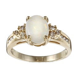 10k Yellow Gold Opal and 1/5ct TDW Diamond Ring (J-K, I2-I3)