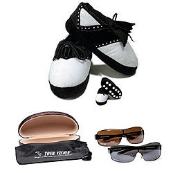 Tour Vision Men's Golf Slippers with 2 Pairs of 'Fairways' HD Sunglasses Combo Set