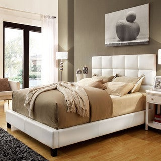 INSPIRE Q Fenton White Bonded Leather Panel Queen-sized Upholstered Bed